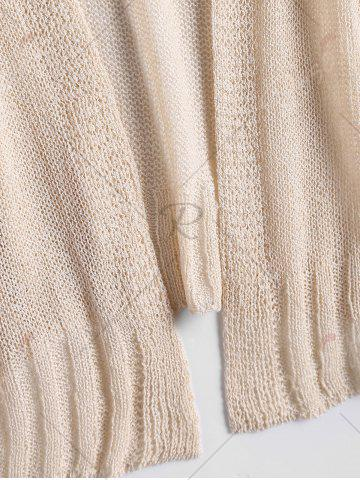 Outfit Drop Shoulder Collarless Sheer Cardigan - ONE SIZE BEIGE Mobile
