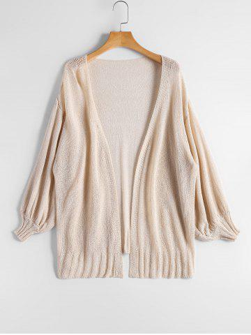 Outfits Drop Shoulder Collarless Sheer Cardigan - ONE SIZE BEIGE Mobile