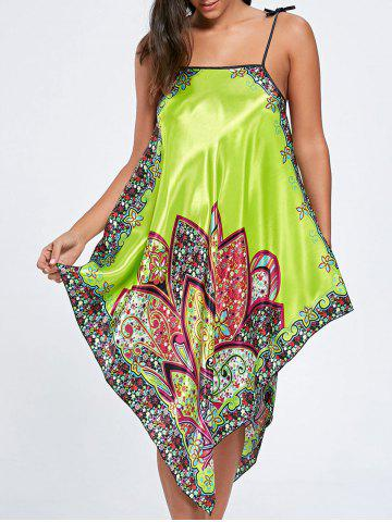 New Asymmetric Floral Slip Pajama Dress - ONE SIZE GRASS GREEN Mobile