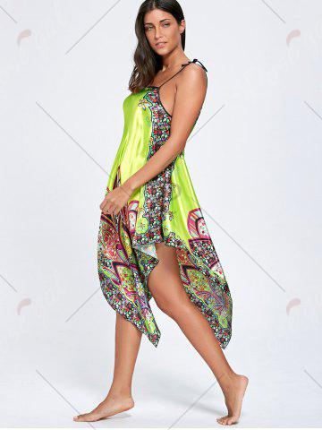 Outfit Asymmetric Floral Slip Pajama Dress - ONE SIZE GRASS GREEN Mobile