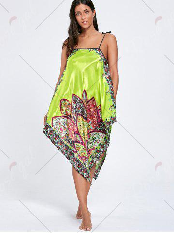 Store Asymmetric Floral Slip Pajama Dress - ONE SIZE GRASS GREEN Mobile