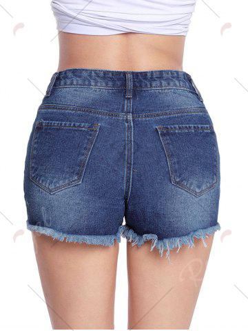 Unique Distressed Cut Off Jean Shorts - M BLUE Mobile