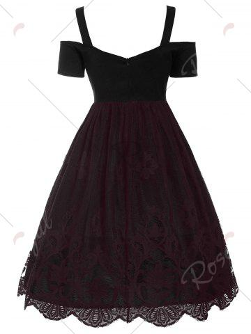 Outfits Lace Panel Vintage Fit and Flare Dress - S DARK RED Mobile