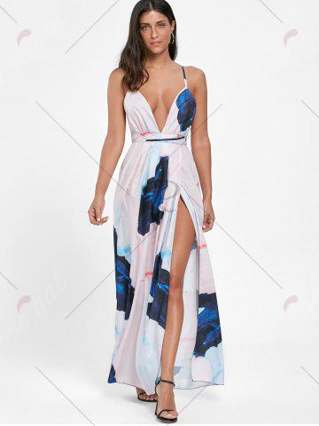 New Backless High Slit Print Maxi Plunge Dress - XL COLORMIX Mobile