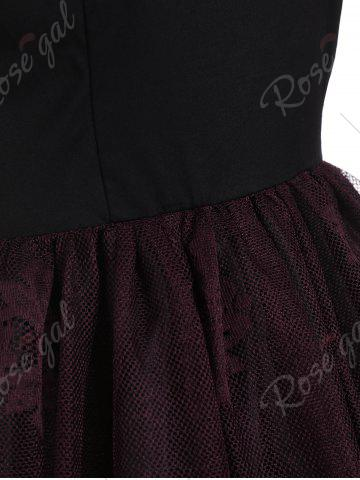 New Lace Panel Vintage Fit and Flare Dress - S DARK RED Mobile