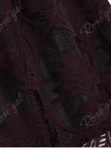 Trendy Lace Panel Vintage Fit and Flare Dress - S DARK RED Mobile