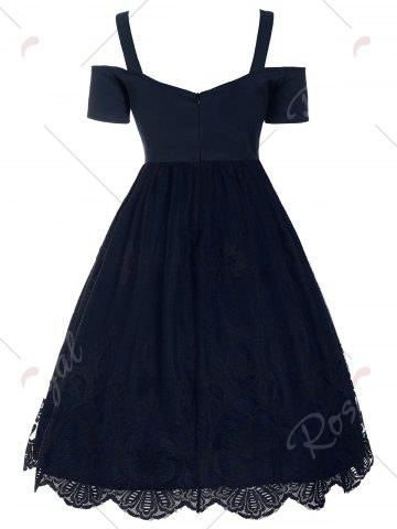 Chic Lace Panel Vintage Fit and Flare Dress - 2XL PURPLISH BLUE Mobile