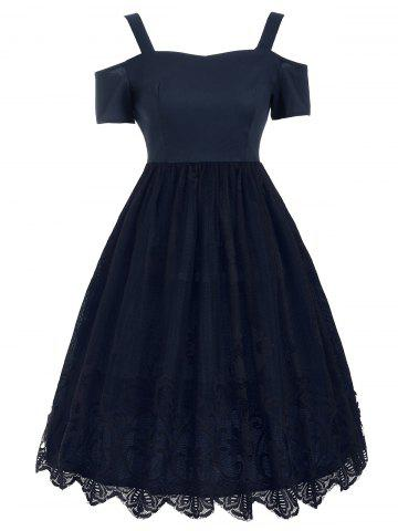 Hot Lace Panel Vintage Fit and Flare Dress - 2XL PURPLISH BLUE Mobile