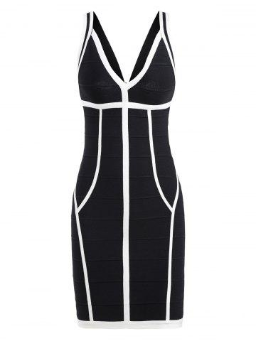 Bodycon Two Tone V Neck Bandage Dress - Black White - L