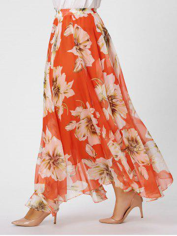 Affordable Elastic Waist Plus Size Floral Maxi Skirt - XL BURNT ORANGE Mobile