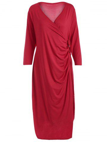 Outfit Knee Length Wrap Plus Size Dress - 2XL RED Mobile