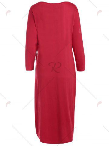 Chic Knee Length Wrap Plus Size Dress - 2XL RED Mobile