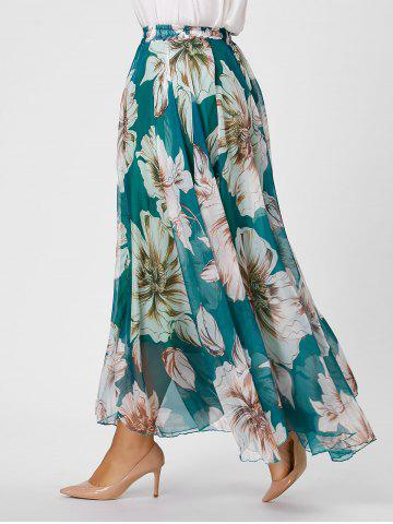 Store Elastic Waist Plus Size Floral Maxi Skirt - 3XL GREEN Mobile
