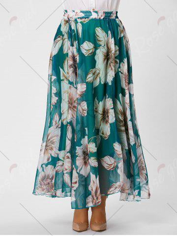 Buy Elastic Waist Plus Size Floral Maxi Skirt - 3XL GREEN Mobile