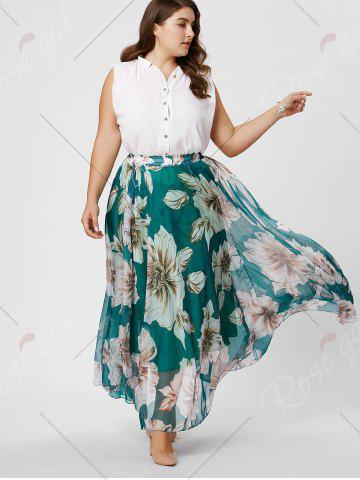 Best Elastic Waist Plus Size Floral Maxi Skirt - 3XL GREEN Mobile