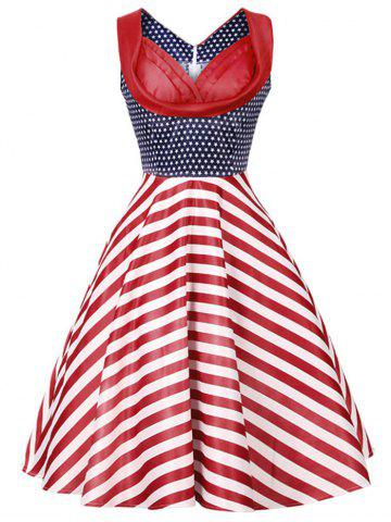 Buy Vintage Stars and Stripes Print Dress - S COLORMIX Mobile
