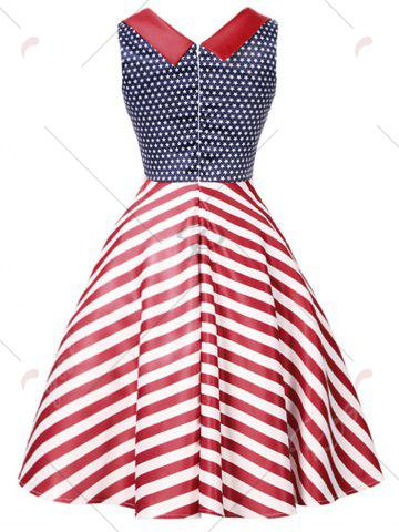 Best Vintage Stars and Stripes Print Dress - S COLORMIX Mobile