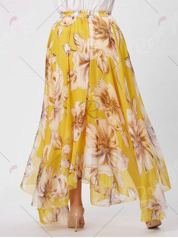 Affordable Elastic Waist Plus Size Floral Maxi Skirt - 3XL YELLOW Mobile