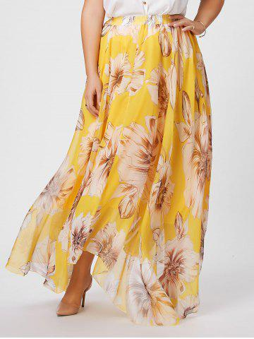 Store Elastic Waist Plus Size Floral Maxi Skirt YELLOW 2XL