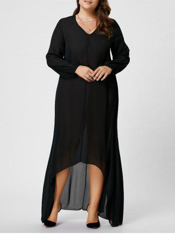 Plus Size V Neck Long Sleeve Maxi Chiffon Flowy Dress - Black - 2xl