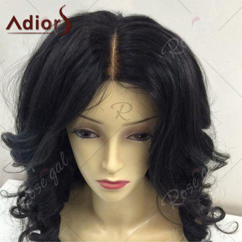 New Adiors Long Center Parting Fluffy Body Wave Synthetic Wig - BLACK  Mobile
