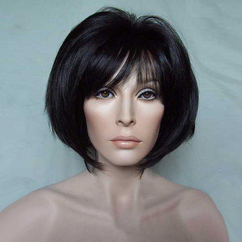 Outfit Short Oblique Bang Glossy Straight Bob Synthetic Wig - BLACK  Mobile