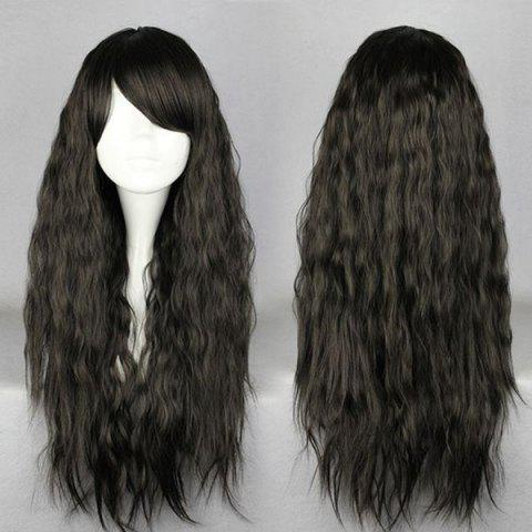 Fancy Long Side Bang Fluffy Natural Wave Synthetic Wig BLACK