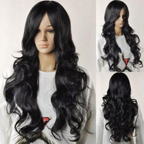 Online Long Center Parting Layered Fluffy Wavy Synthetic Wig - BLACK  Mobile
