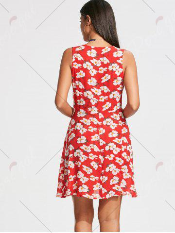 Sale Floral Print Sleeveless Skater Dress - S RED Mobile