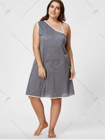 Sale One Shoulder Plus Size Beach Wrap Cover Up Dress - XL GRAY Mobile