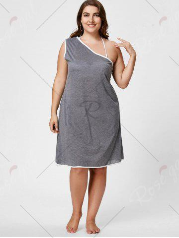 Best One Shoulder Plus Size Beach Wrap Cover Up Dress - XL GRAY Mobile