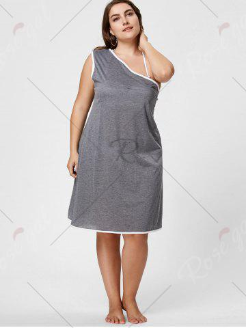 Shops One Shoulder Plus Size Beach Wrap Cover Up Dress - XL GRAY Mobile