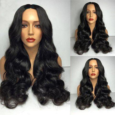 Latest Middle Part Long Big Loose Wave Synthetic Wig - BLACK  Mobile