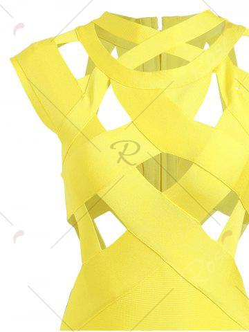 Best Cut Out Bodycon Cage Fitted Bandage Dress - M YELLOW Mobile