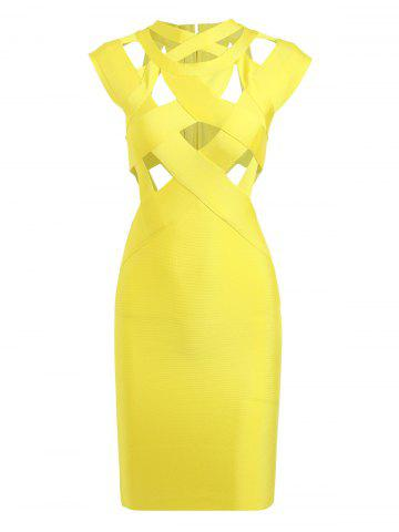 Fancy Cut Out Bodycon Cage Fitted Bandage Dress - L YELLOW Mobile