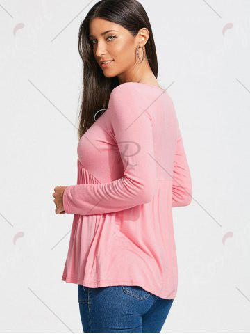 Chic Empire Waist Lace Up Long Sleeve T-shirt - S LIGHT PINK Mobile