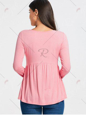 Latest Empire Waist Lace Up Long Sleeve T-shirt - S LIGHT PINK Mobile
