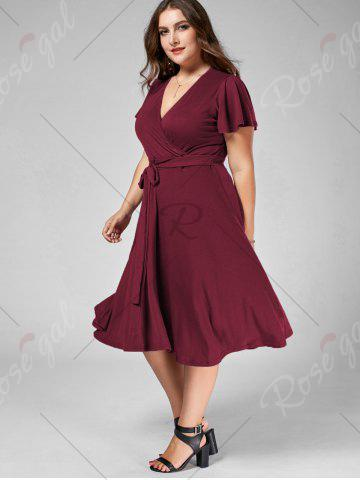 Trendy Plus Size V Neck Belted Midi Dress - 9XL DARK RED Mobile
