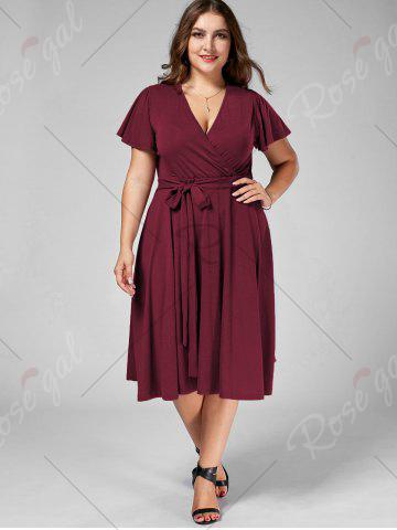 New Plus Size V Neck Belted Midi Dress - 9XL DARK RED Mobile