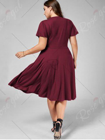 Cheap Plus Size V Neck Belted Midi Dress - 9XL DARK RED Mobile