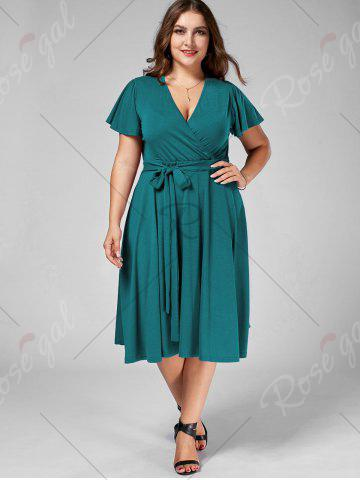 Unique Plus Size V Neck Belted Midi Dress - 9XL TURQUOISE Mobile