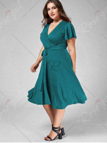 Fashion Plus Size V Neck Belted Midi Dress - 9XL TURQUOISE Mobile