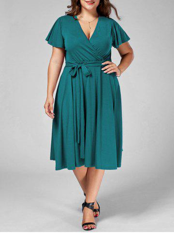 Affordable Plus Size V Neck Belted Midi Dress - 9XL TURQUOISE Mobile
