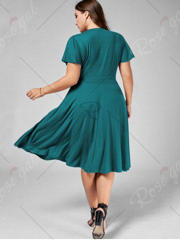 Cheap Plus Size V Neck Belted Midi Dress - 9XL TURQUOISE Mobile