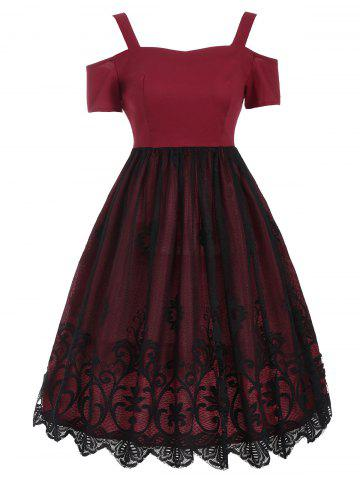 Cheap Lace Panel Vintage Fit and Flare Dress - 2XL RED Mobile