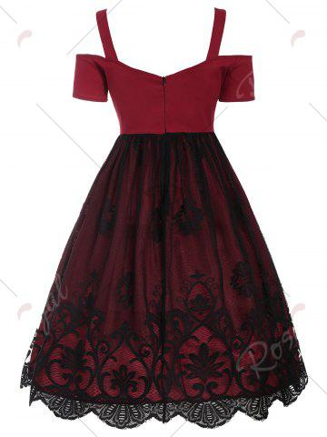 Outfit Lace Panel Vintage Fit and Flare Dress - 2XL RED Mobile