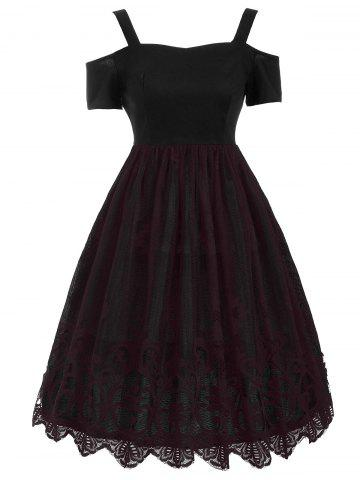 Lace Panel Vintage Fit and Flare Dress - Dark Red - Xl