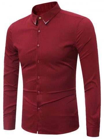 New Embroidery Turndown Collar Long Sleeve Shirt - 3XL WINE RED Mobile