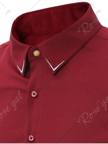 Buy Embroidery Turndown Collar Long Sleeve Shirt - 3XL WINE RED Mobile