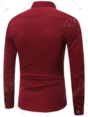 Store Embroidery Turndown Collar Long Sleeve Shirt - 3XL WINE RED Mobile